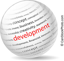 development - Ball with inscription development, on a white...