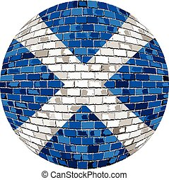 Ball with Scotland flag in brick style