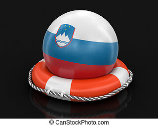 Ball with Slovene flag on lifebuoy. Image with clipping path