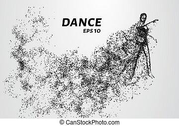 ballando., ballo, su, particles., ragazza, warming, prima