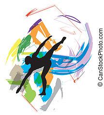 ballando., vettore, illustrazione
