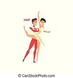 ballare ballet, ballerino, coppia, illustrazione, vettore, fondo, professionale, bianco