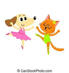 ballare ballet, gatto, cane, insieme, caratteri, gattino, cucciolo
