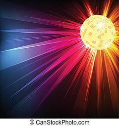 balle, éclater, lumière, disco, vecteur, fond