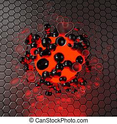 balle, éléments, hexagone, 3d, rouges, métallique, contre, liquide, incandescent, fond