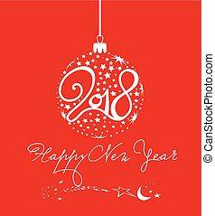 balle, étoile, 2018, année, nouveau, heureux