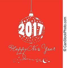 balle, étoile, année, nouveau, 2017, heureux