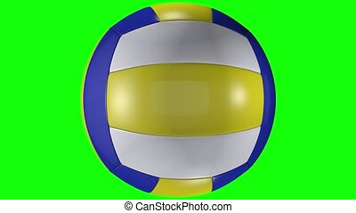 balle, animation, chroma, volley-ball, tourner, arrière-plan., green-screen, clã©, 3d