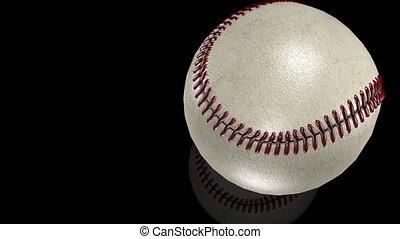 balle, animation, mouvement, base-ball, miroir, blanc, surface., 3d