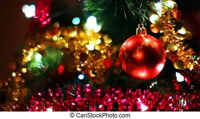 balle, arbre, clignotant, verre, jouet, pend, guirlandes, noël, rouges