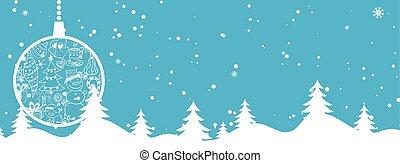 balle, arbre hiver, salutation, illustration, dessin animé, arrière-plan., thème, vecteur, year., joyeux, nouveau, vacances, bannière, noël carte, heureux