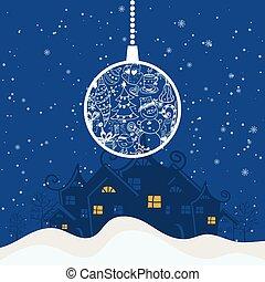 balle, arbre hiver, salutation, illustration, dessin animé, arrière-plan., thème, vecteur, year., joyeux, nouveau, vacances, noël carte, heureux
