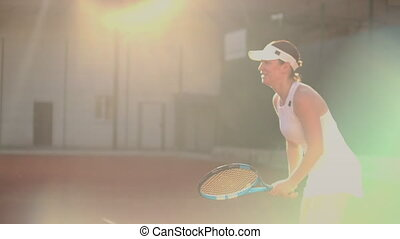 balle, ball., court., succès, joueur, femme, tennis, atteindre