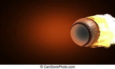 balle, base-ball, brûlé