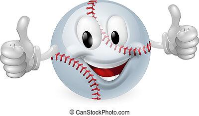 balle, base-ball, mascotte