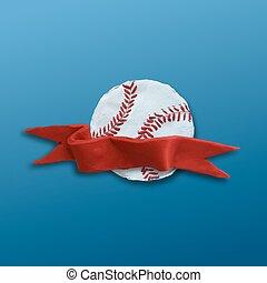 balle, base-ball, ruban rouge