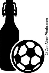 balle, bière, football, bouteille