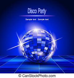 balle, bleu, fête, disco, fond
