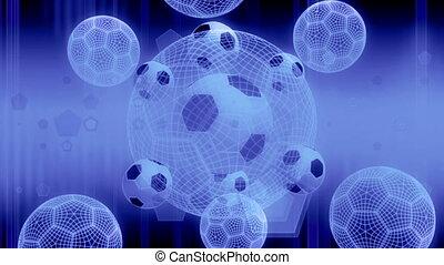 balle, boucle, stroboscope, fond, football