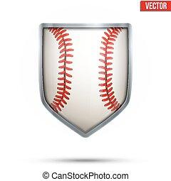 balle, bouclier, intérieur., clair, base-ball, vector.