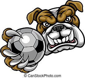 balle, bouledogue, football, tenue, football, mascotte