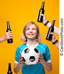 balle, bouteille, image, bras, sports, choisir, entre, blond, alcool