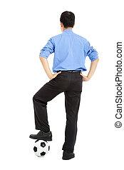 balle, business, jeune, dos, homme, football, vue