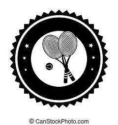 balle, cadre, raquettes tennis, monochrome, circulaire