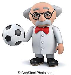 balle, caractère, scientifique, fou, tenue, football, 3d