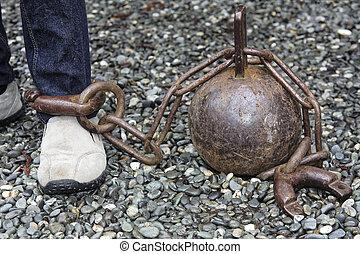 balle, chaîne, jambe