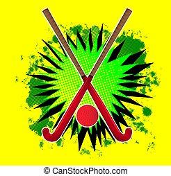 balle, champ, éclaboussure, crosse, hockey