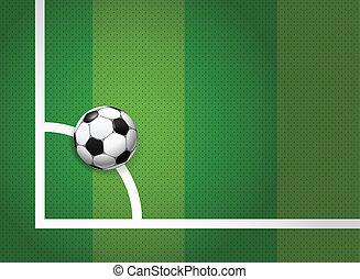 balle, champ, jeu, coin, football, mensonge