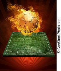 balle, chaud, feux, flamme, football, vitesse