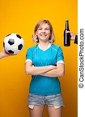 balle, choisir, photo, bras, sports, traversé, bouteille, entre, blond, alcool