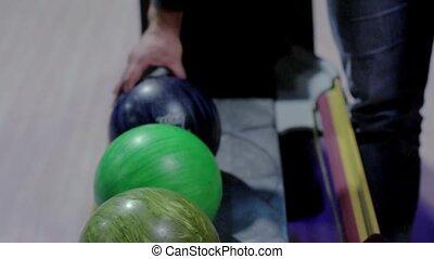 balle, chooses, jeu, bowling, pendant, jeter, homme