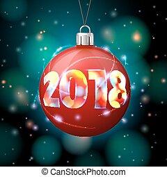 balle, clair, vecteur, 2018, année, nouveau, bannière