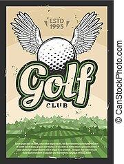 balle, club golf, affiche, ailé, sport