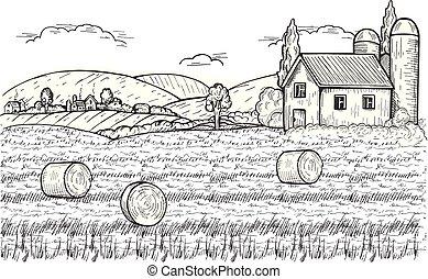 balle, collines, ferme, foin, au-dessous, village, paysage rural