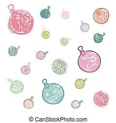 balle, coloré, décorations noël, dessin animé