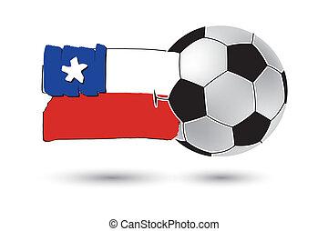 balle, coloré, Lignes, main, drapeau, chili, dessiné, football