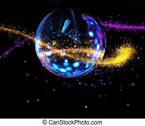 balle, coloré, ruisseau, lumière, disco, miroir