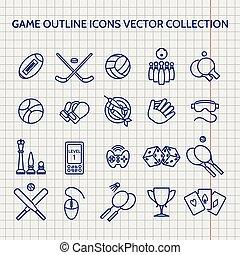balle, contour, icônes, jeu, stylo, ensemble