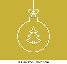 balle, contour, or, arbre, forme, fond, noël