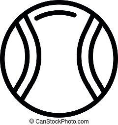 balle, contour, style, icône, lancer