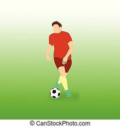 balle, controling, football, illustration, joueur, étape, vecteur, football