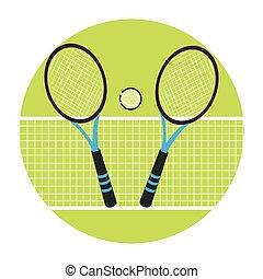 balle, couleur, cadre, raquettes tennis, filet, circulaire