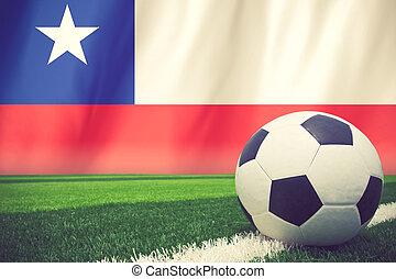 balle, couleur, vendange, drapeau, chili, football