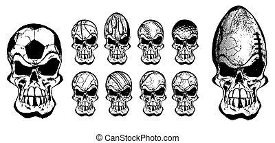balle, crânes