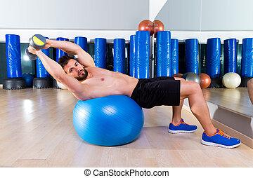 balle, crise, gymnase, pression banc, haltère, séance entraînement, homme