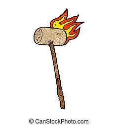 balle croquet, dessin animé, maillet
